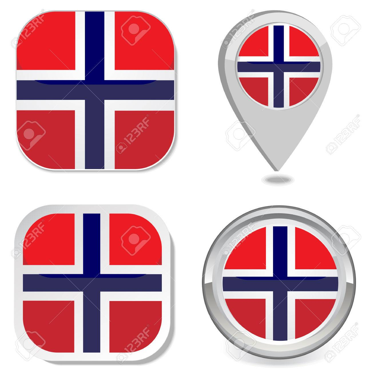 Grunge Norway Flag Icon Sticker Button Map Point Marker Vector - Norway map eps