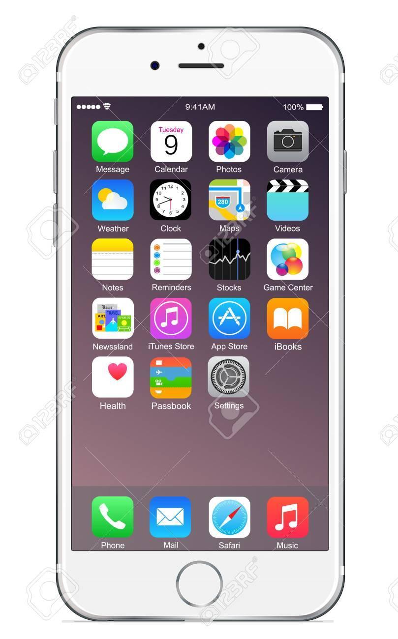 Iphone 6 plus d'argent Banque d'images - 31608824