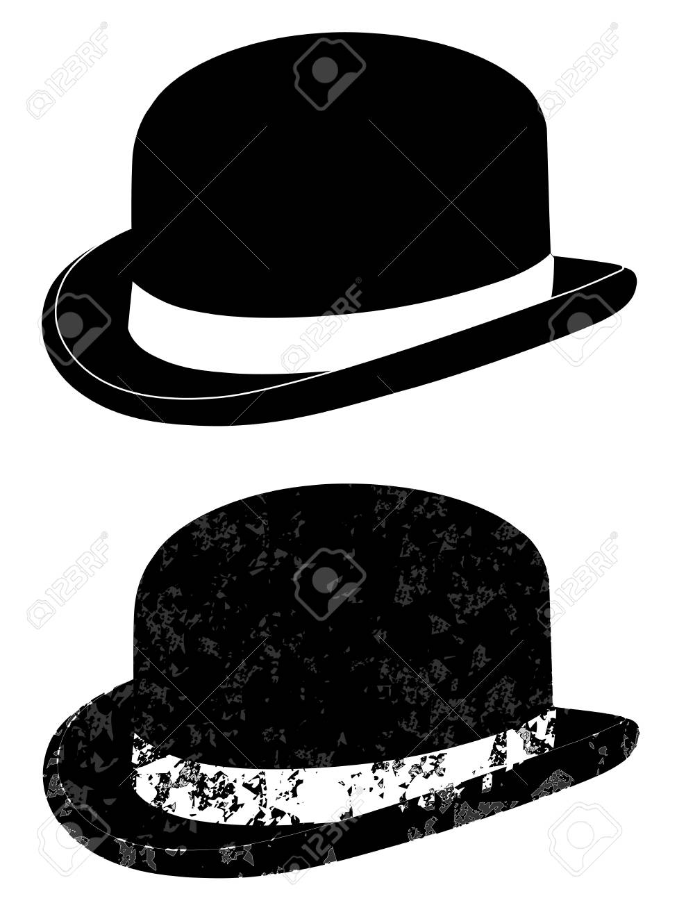 7c05e536cd7 Black Bowler Hat On A White Background Vector Royalty Free Cliparts ...