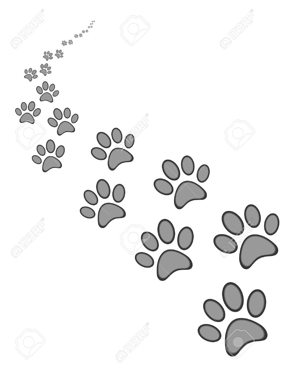 Cute dog or cat paw print, on white  background Banque d'images - 39035554