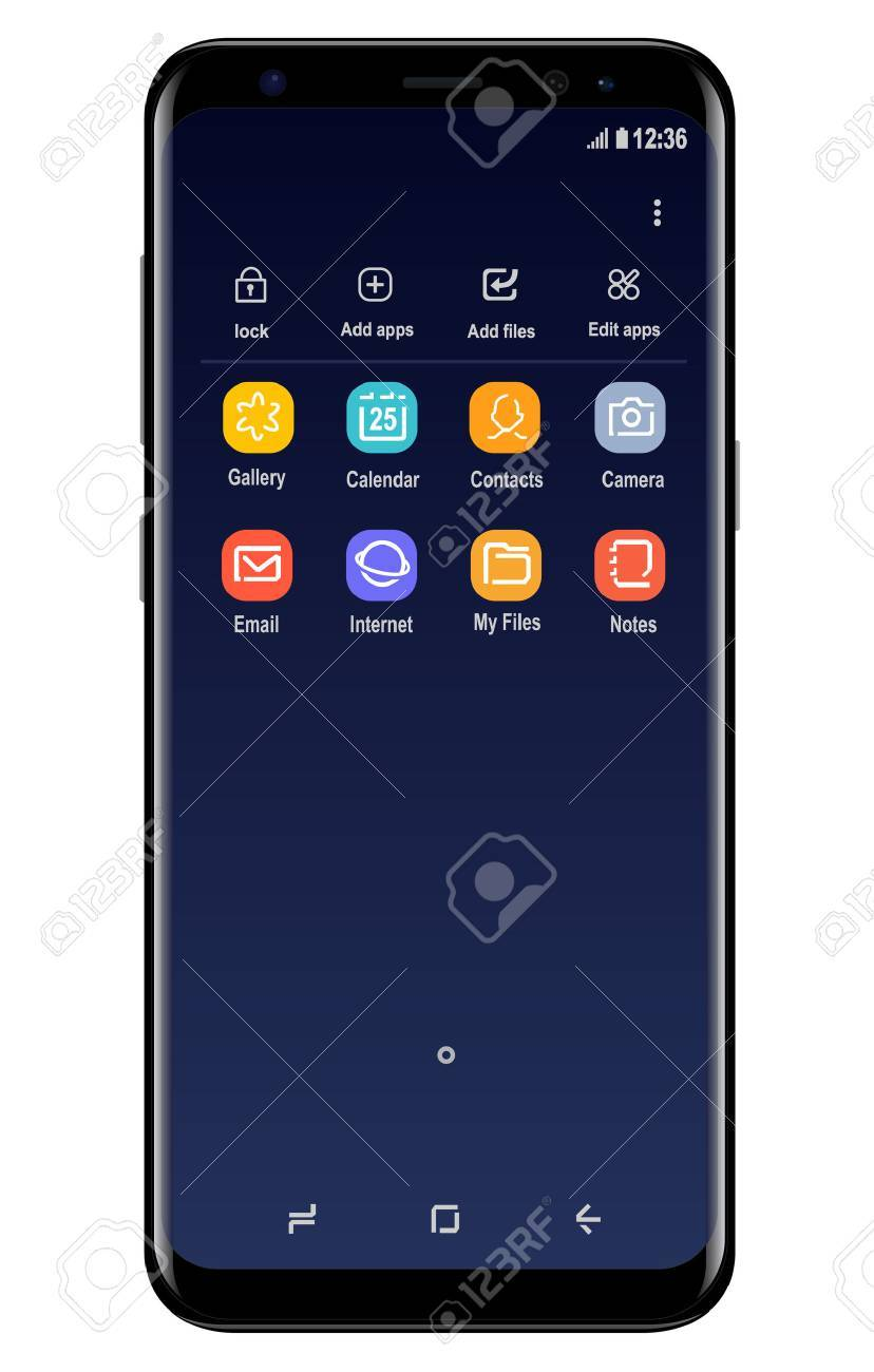 Modern mobile phone similar to the Samsung Galaxy S8 Banque d'images - 76378751