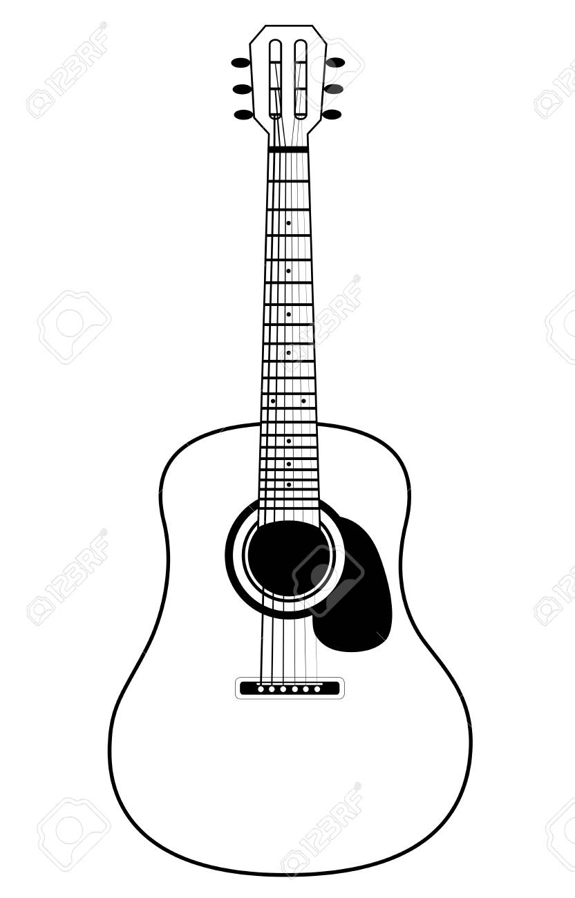 Stylized Acoustic Guitar Isolated On A White Background Royalty Free