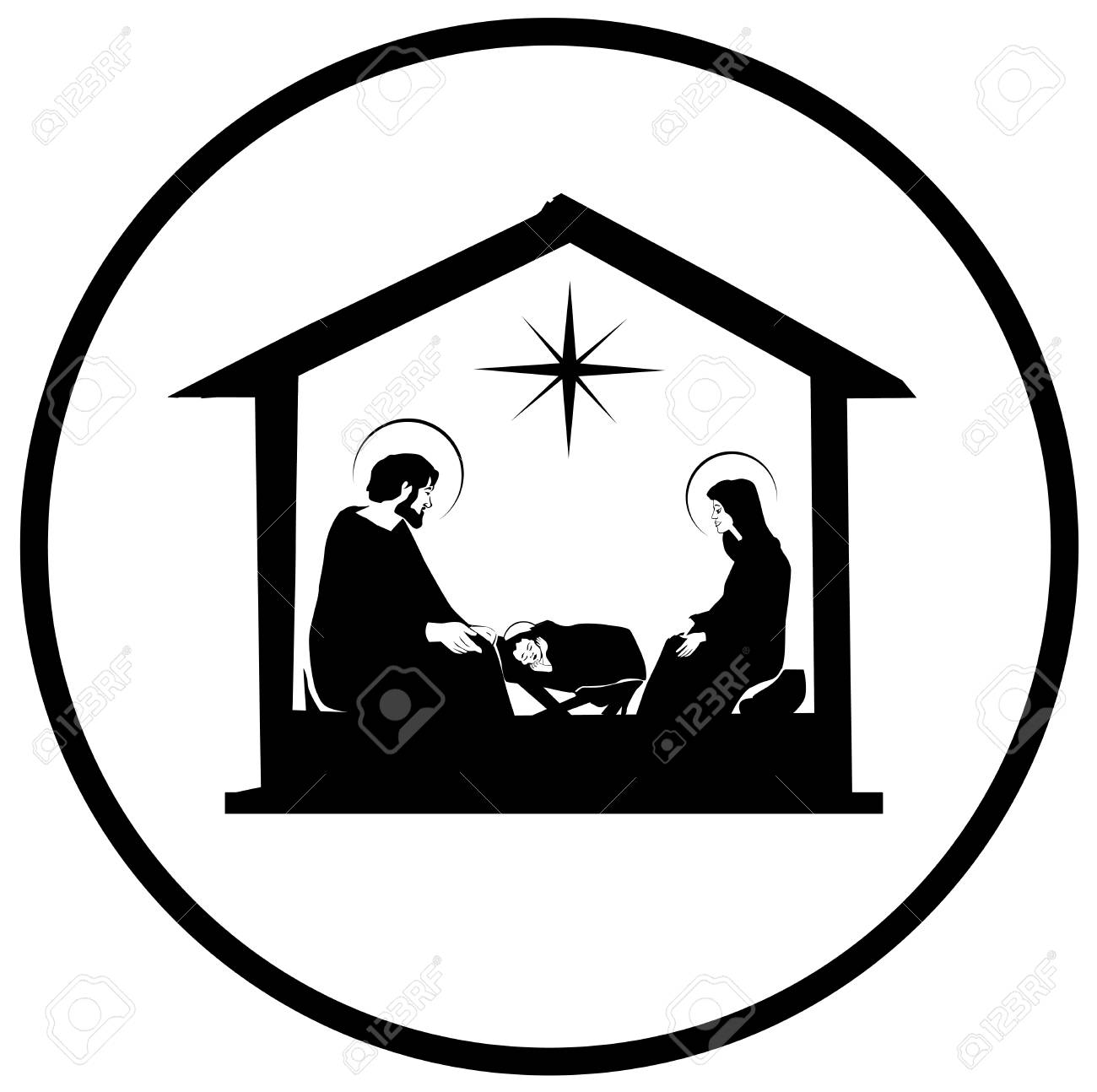 Christmas Christian Nativity Scene With Baby Jesus In The Manger ...