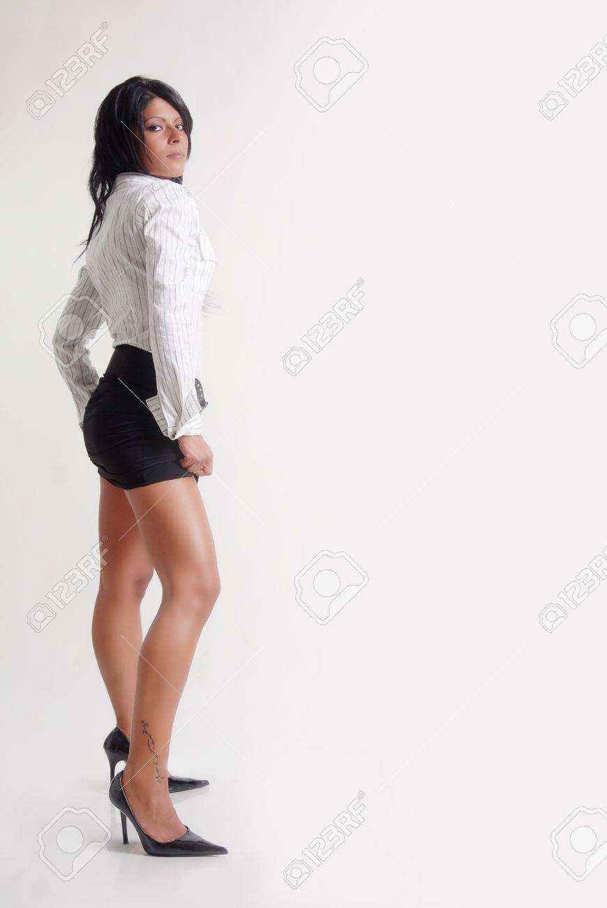 Sexy Business woman on white background Stock Photo - 12548810