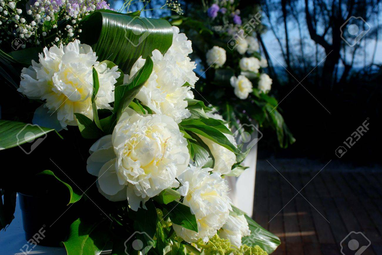 A Wedding Altar With Flowers And Plants Stock Photo Picture And Royalty Free Image Image 13157387