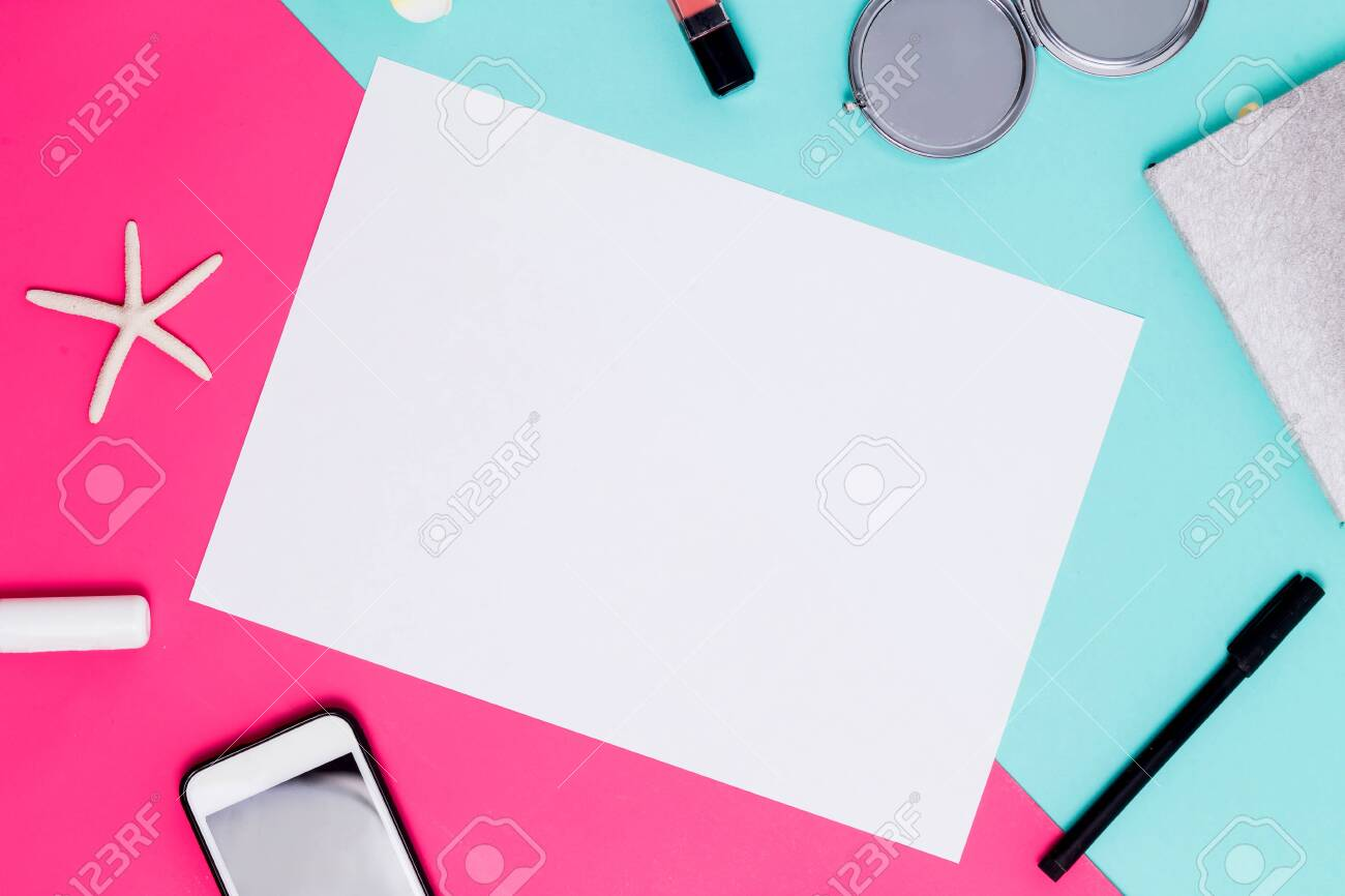 Flat lay white sheet of paper for text and advertising on colorful background with accessories. spring theme - 124093202