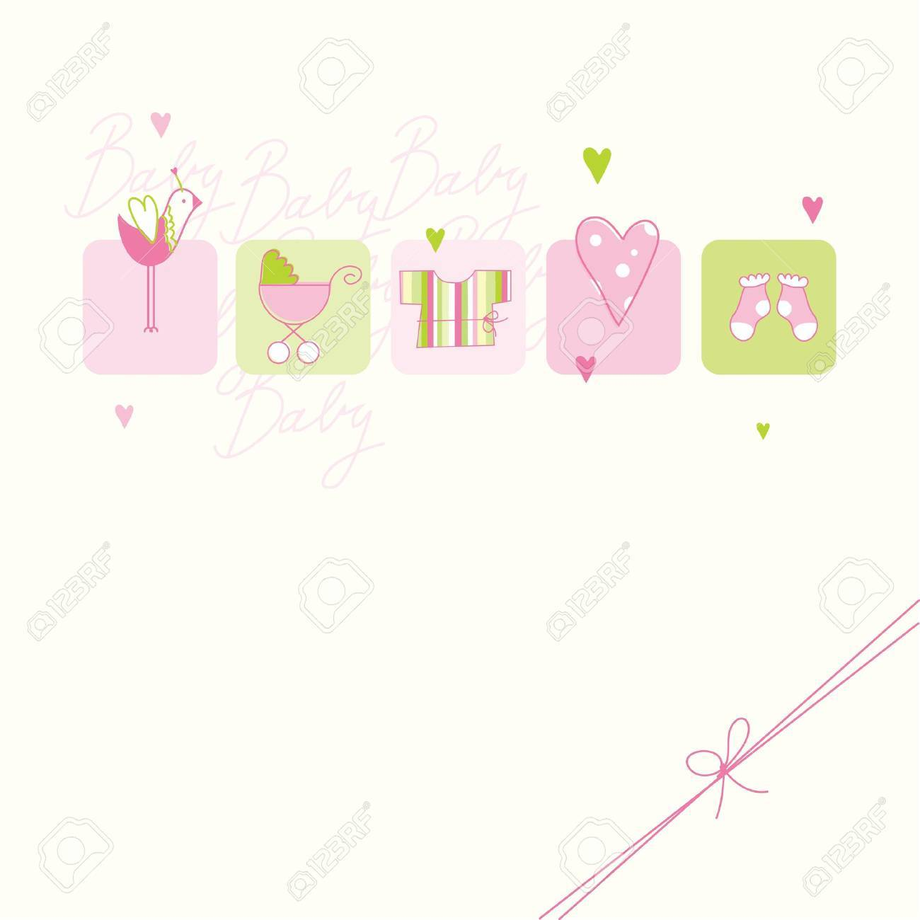 Baby shower card with copy space Stock Vector - 13027253