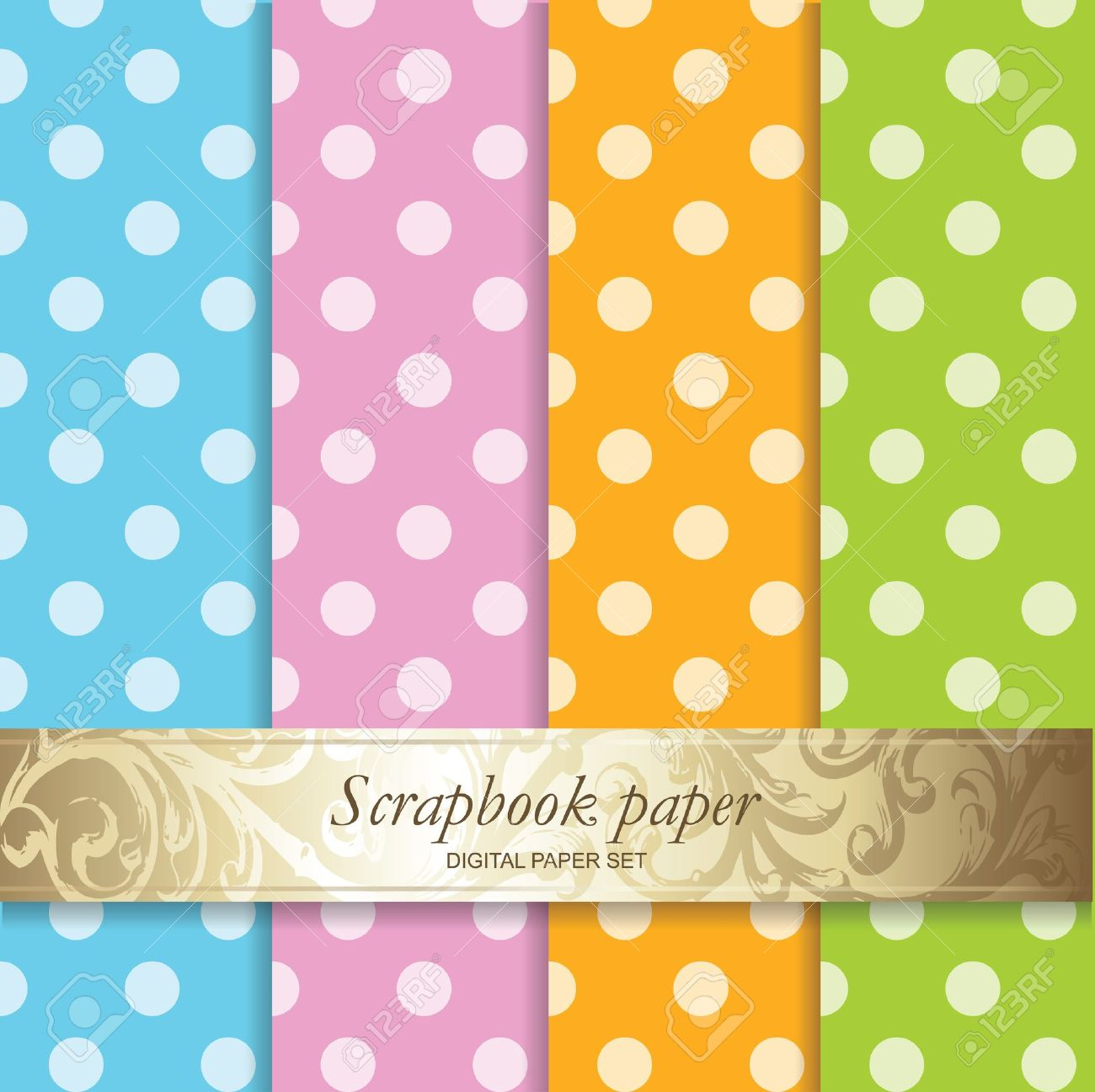 Scrapbook paper images - Colorful Backgrounds Set Scrapbook Paper Stock Vector 15428131