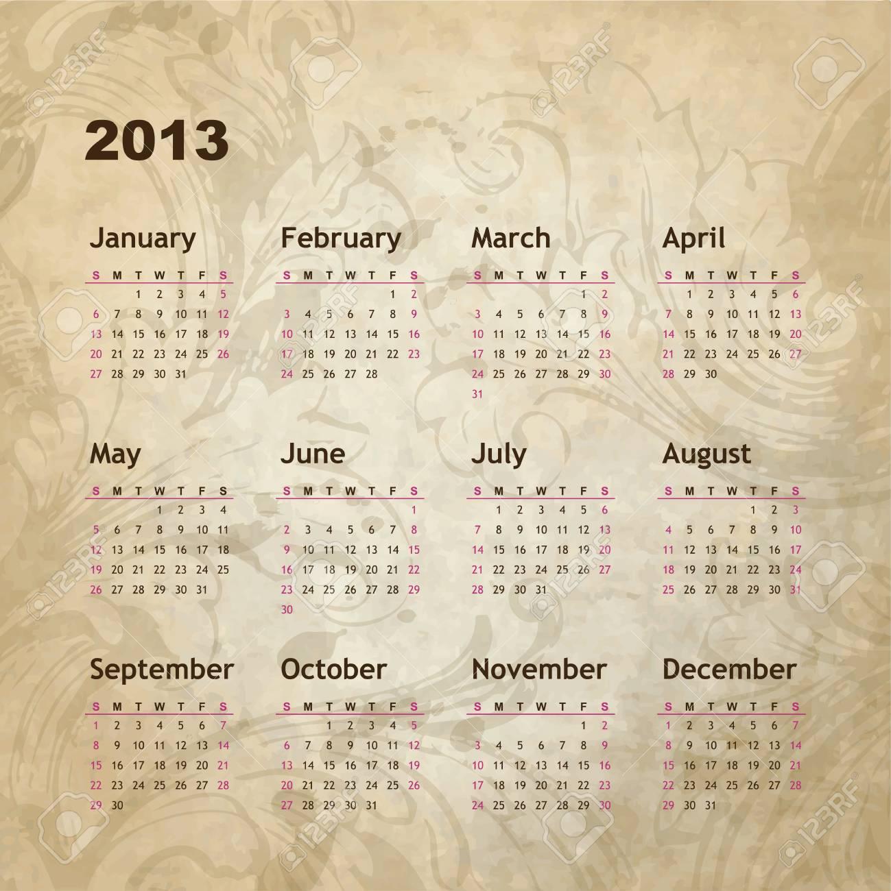 New year calendar 2013 Stock Vector - 16243954