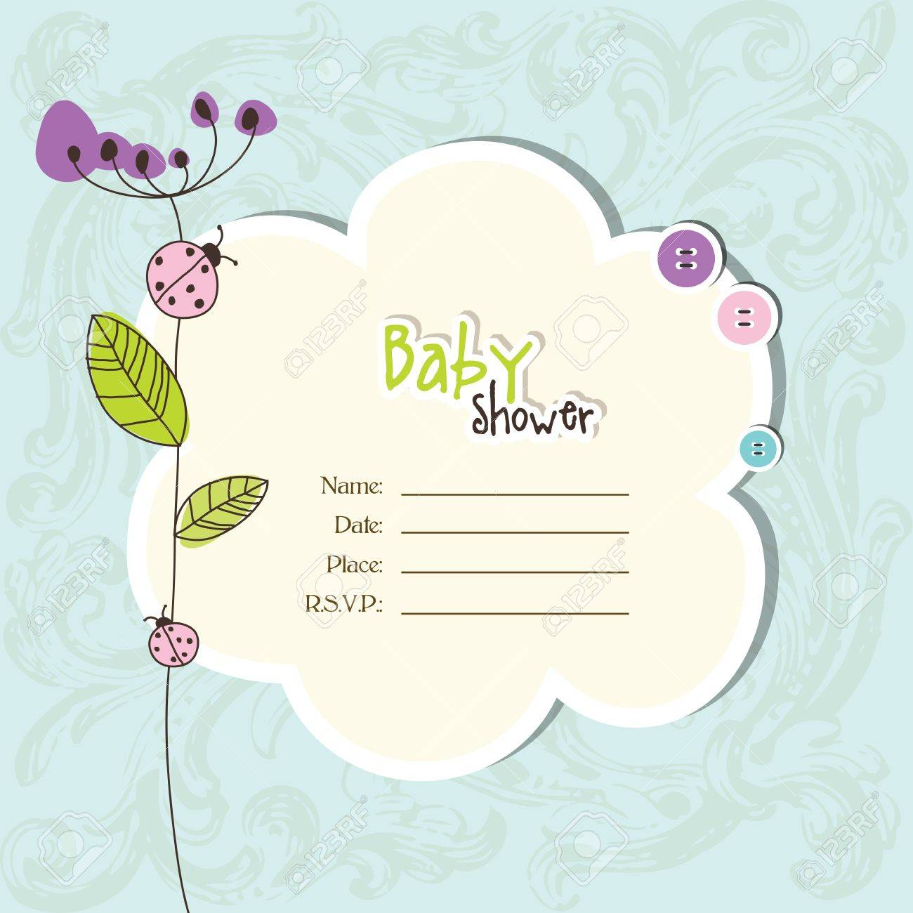 Baby shower invitation with copy space Stock Vector - 17134972