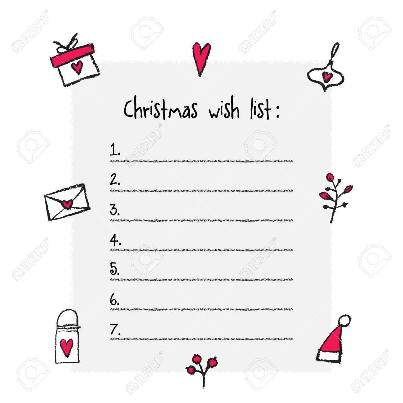 photograph about Printable Wish Lists named Xmas want checklist template. Hand drawn components. Printable..