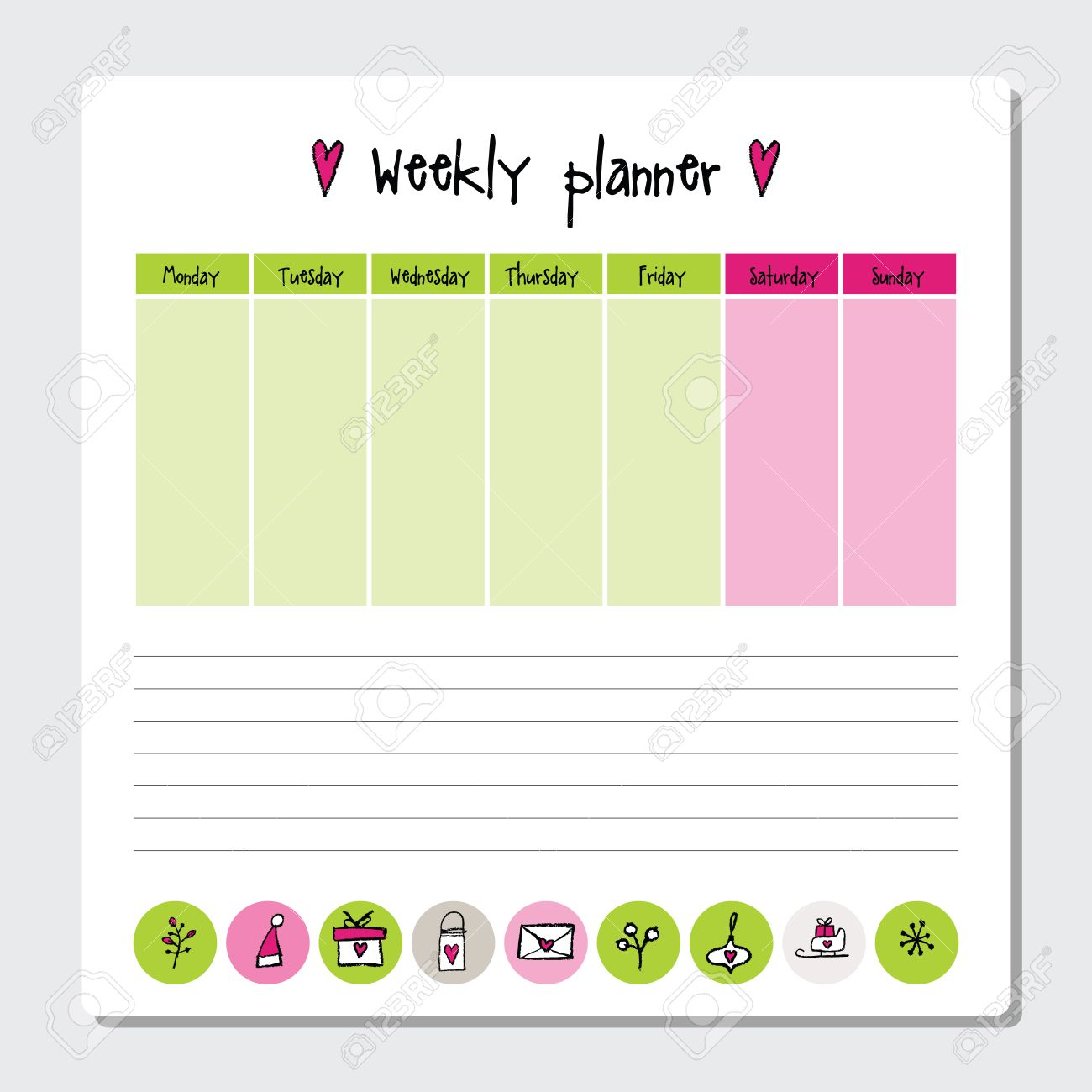 picture relating to Time and to Do Planner named Weekly planner. Observe paper, Notes, toward do checklist. Organiser planner..