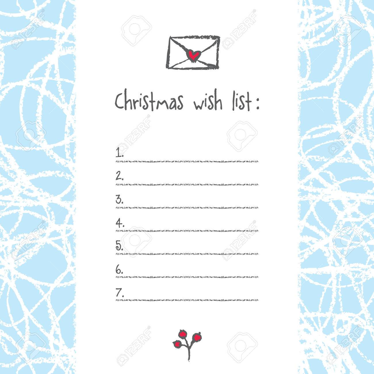 image relating to Printable Wish Lists referred to as Xmas want listing template. Hand drawn components. Printable..