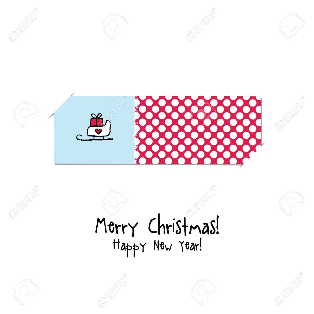 Christmas And New Year Greeting Card Label Gift Card Sticker