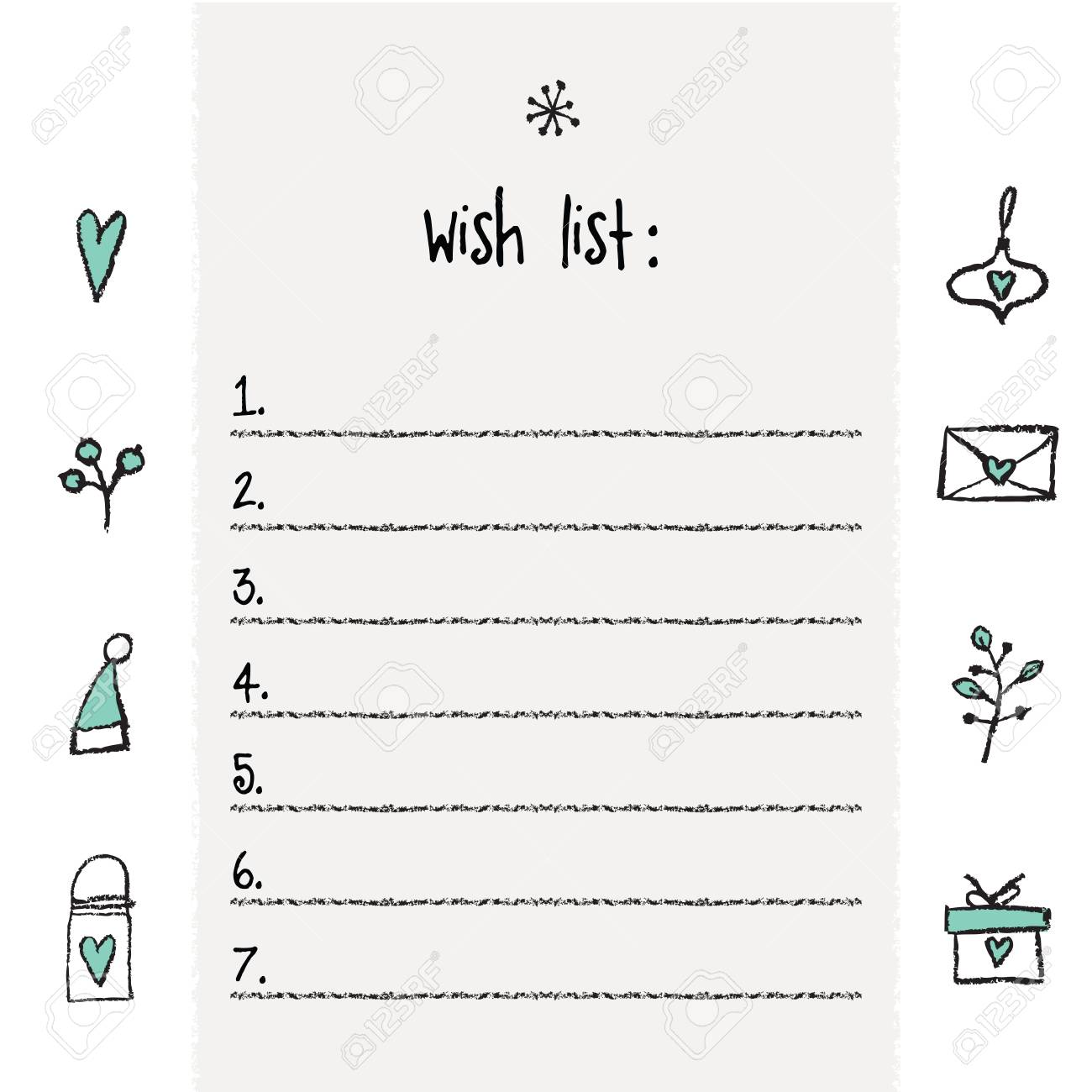 graphic about Wish List Printable identify Xmas want record template. Hand drawn materials. Printable..
