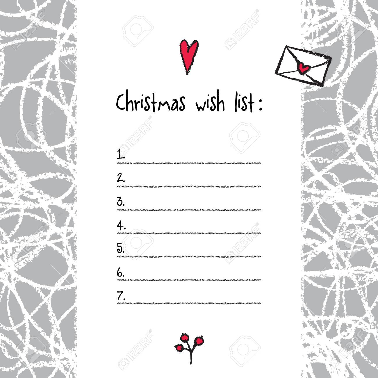 image relating to Wish List Printable named Xmas drive record template. Hand drawn supplies. Printable..