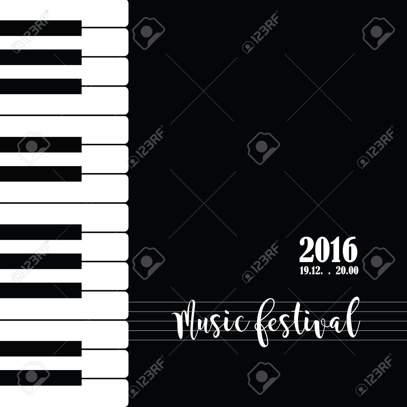 Música De Piano Plantilla De Cartel Del Festival. Fondo Con Las ...