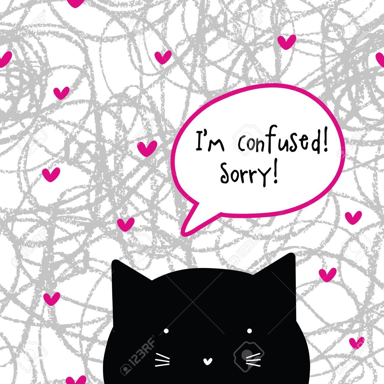 Je Suis Confus Pardon Caractère De Chat Bulle Chat Talk Clip Art Libres De Droits Vecteurs Et Illustration Image 76466217