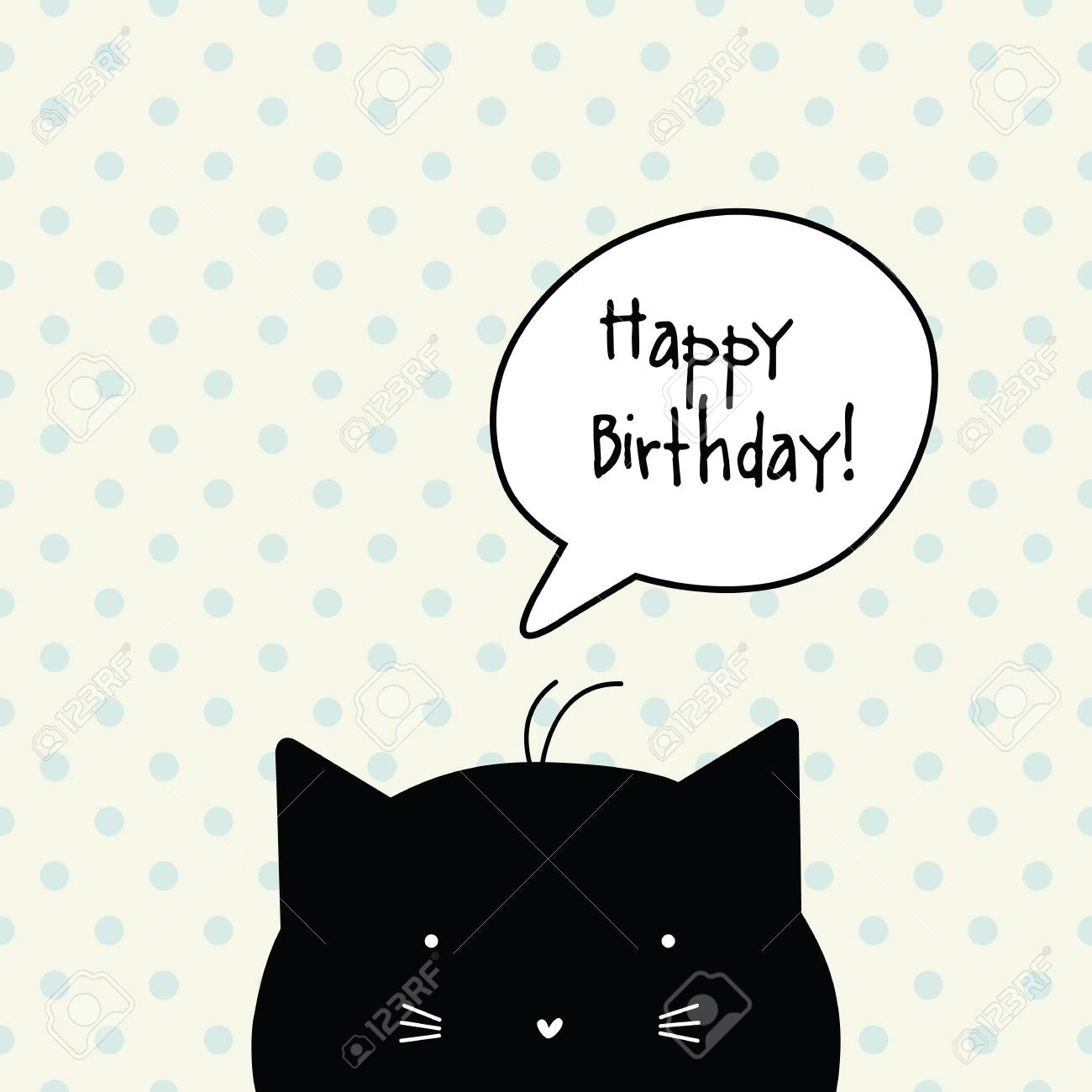 Happy Birthday Card Cat Character Template Graphic Design Element Stock Vector