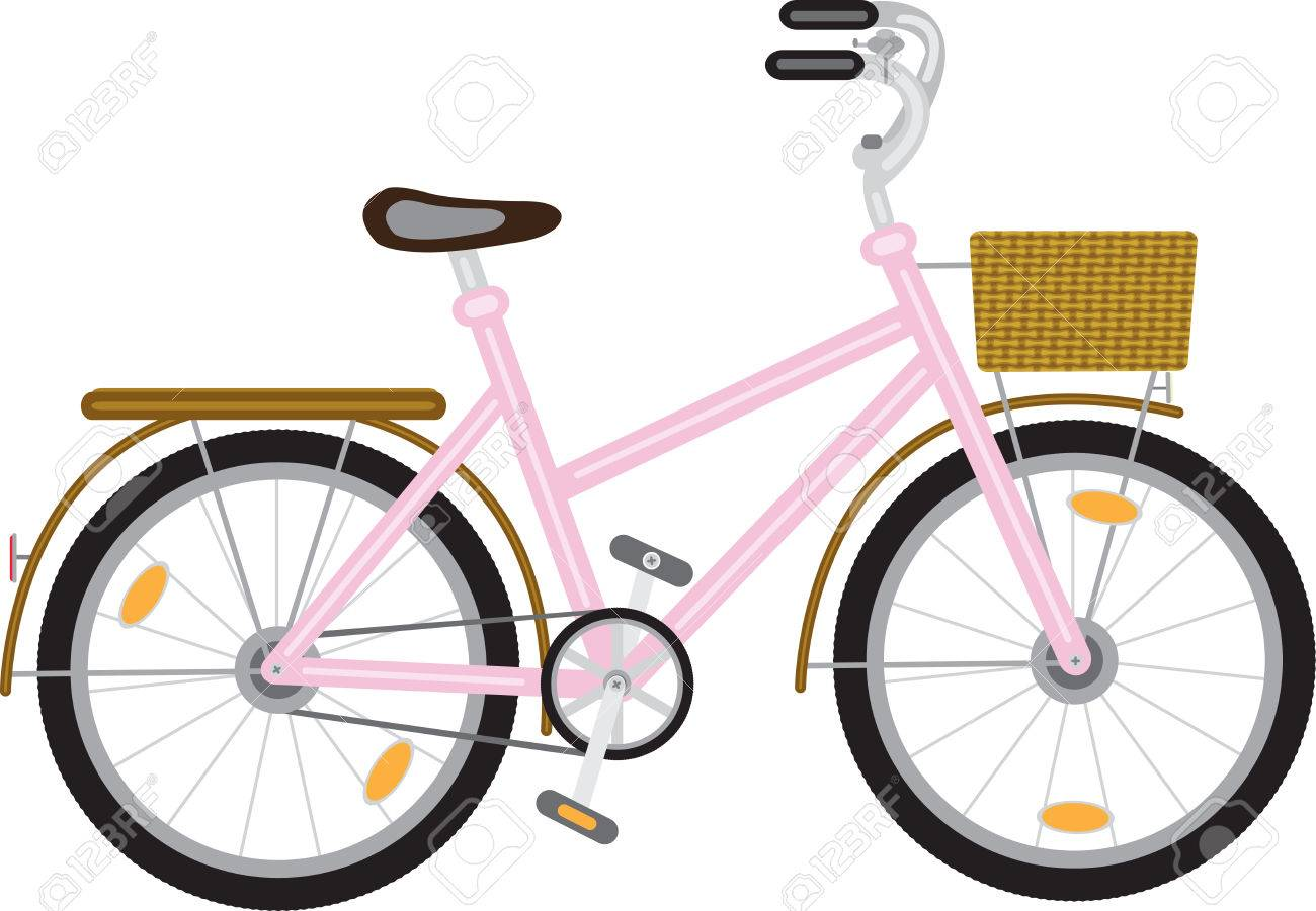 bicycle for a girl with a basket at the helm of pink - 52159555