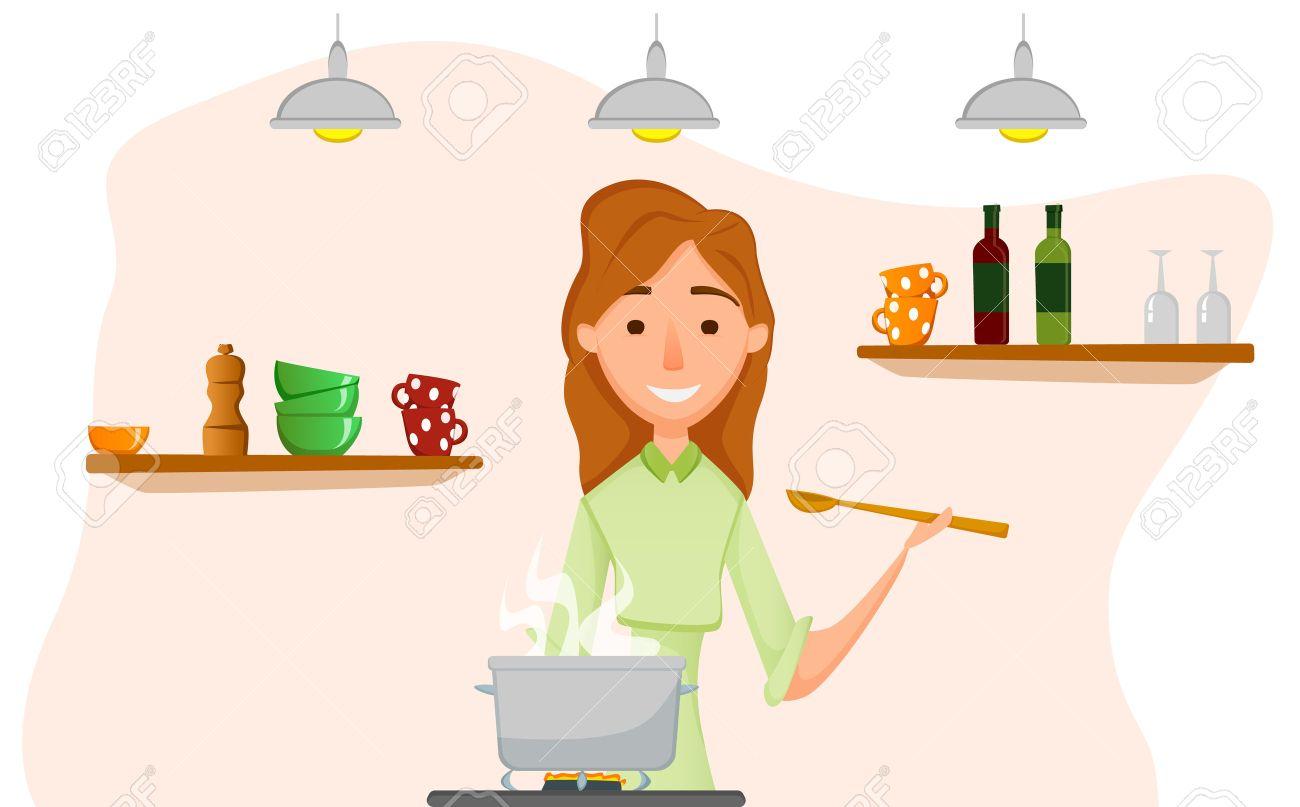 料理の母台所で料理をする女性のイラストのイラスト素材ベクタ