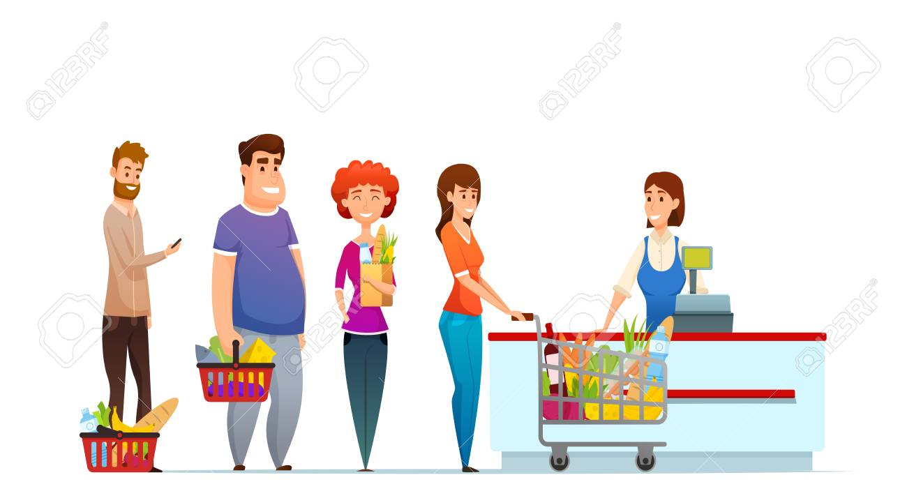 Customer queue people shopping in supermarket at cash desk with cashier vector illustration isolated on white background. - 100110548