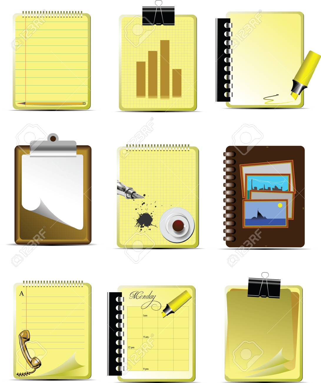 Vector Nine Office & Business icons. Help for designers and web-designers Stock Vector - 3133163