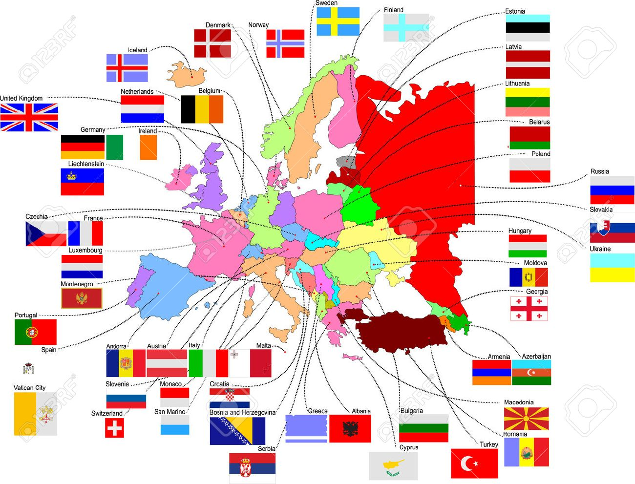 Map of Europe with country flags Stock Vector - 3876548