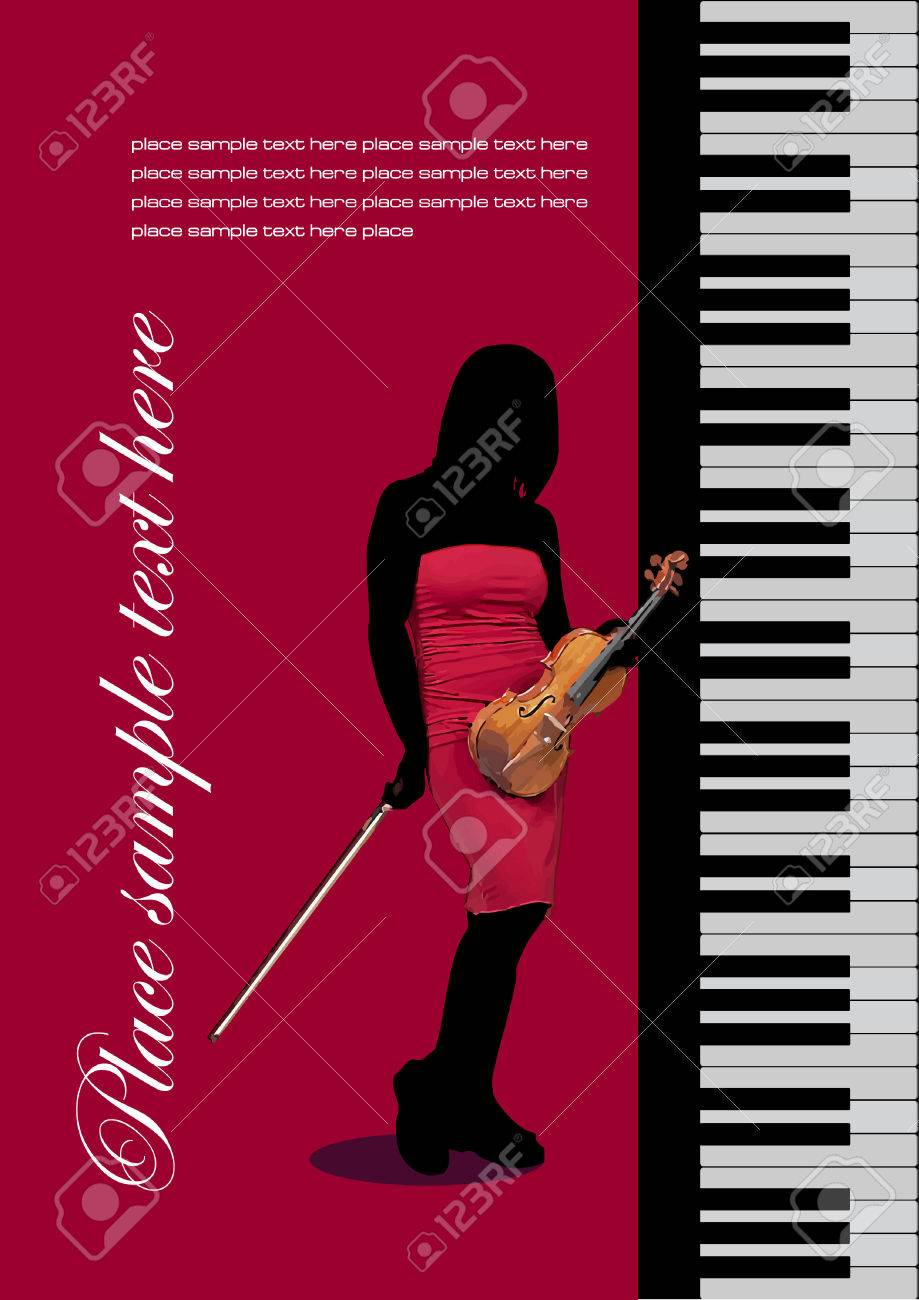 Piano with violin. Vector colored illustration. Cover for book Stock Vector - 4352136