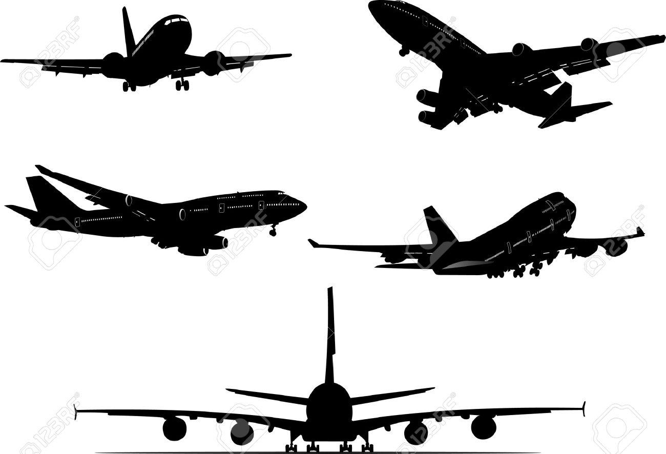 5 航空機のシルエットベクトル イラストのイラスト素材ベクタ