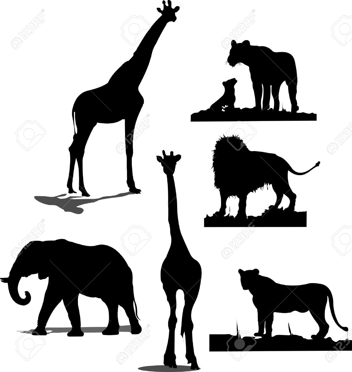 african animal silhouettes black and white silhouettes stock vector 5456036