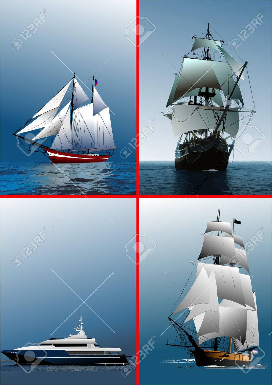 Four old sailing vessels. Vector illustration Stock Vector - 5742516