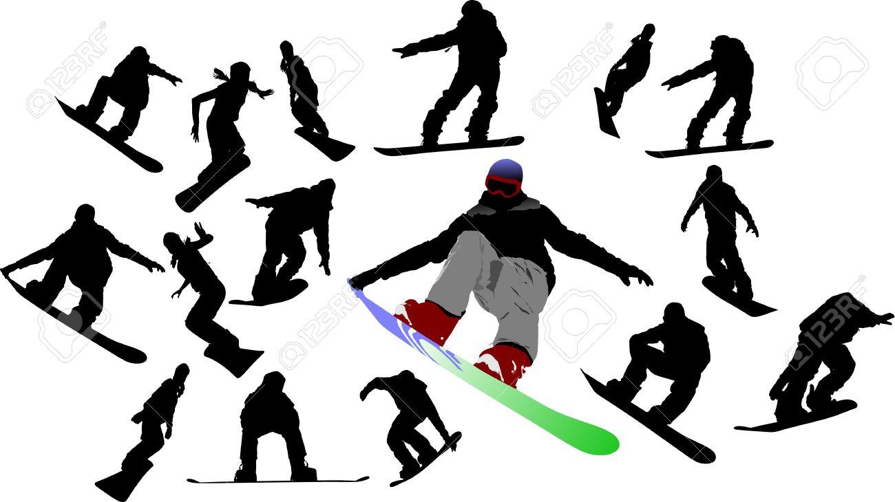 スノーボードの男のシルエットベクトル イラストのイラスト素材