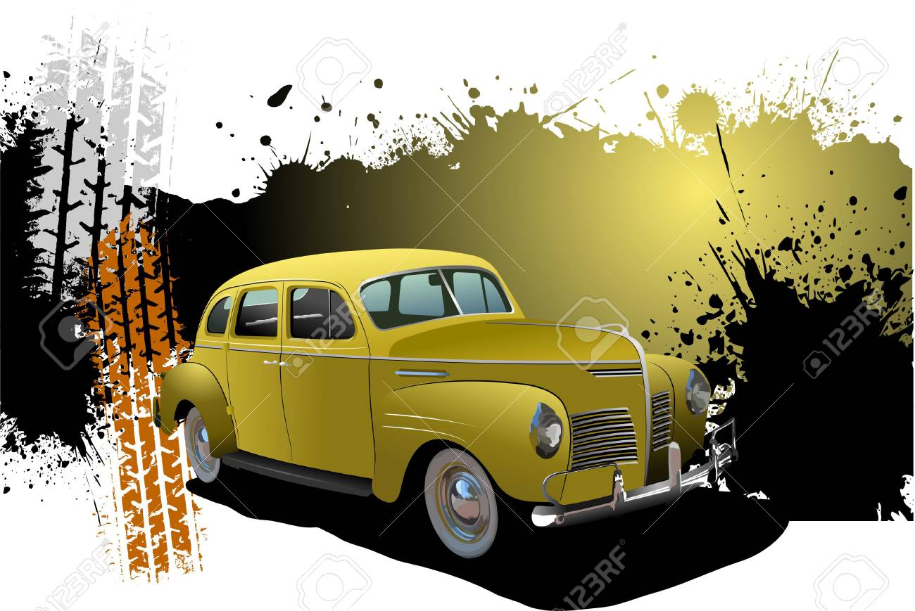 Grunge Banner with rarity car image. Vector illustration Stock Vector - 6533349