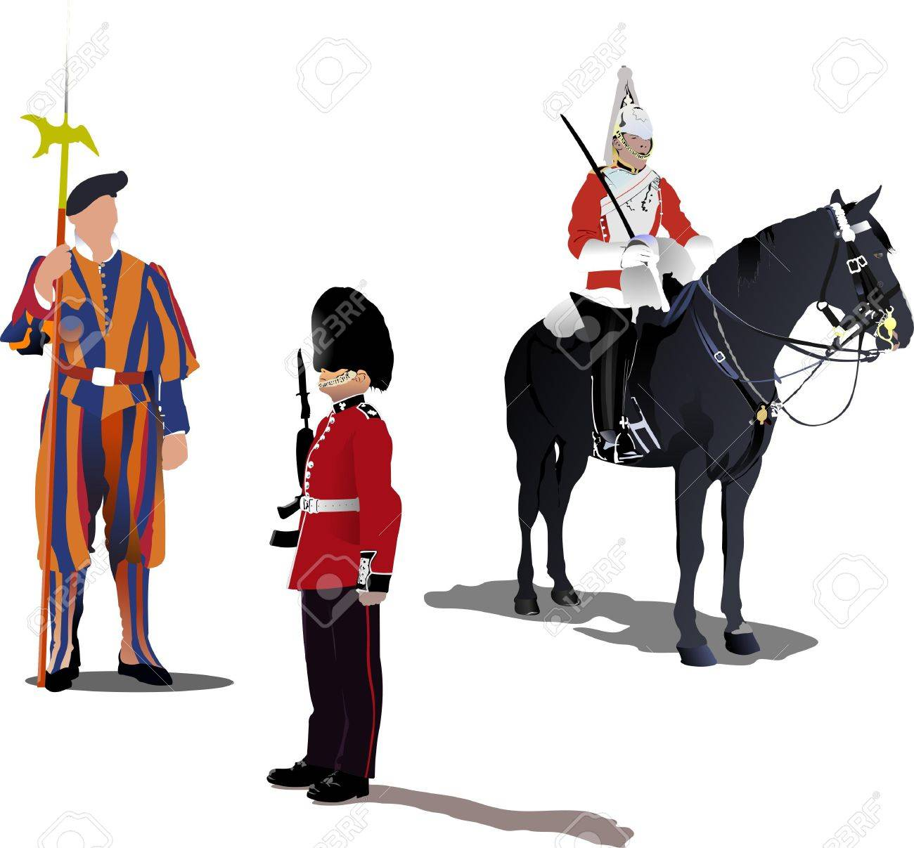 image of three guards on a horse isolated on white Stock Vector - 7797650