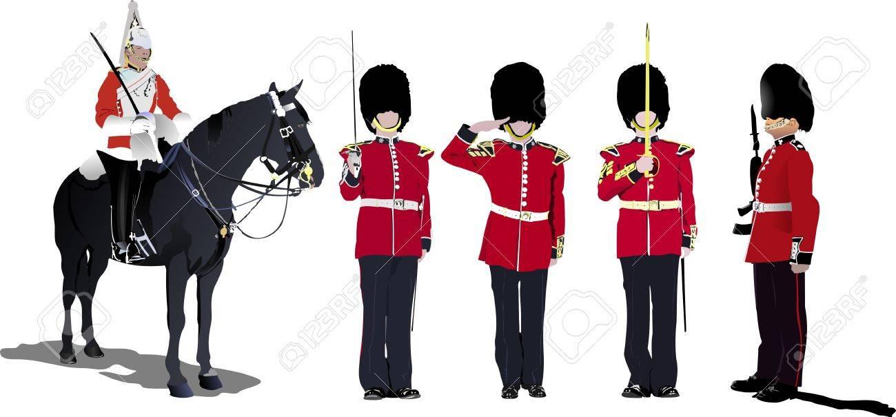 imagen de cinco beefeaters. Guardias de Inglaterra.   Foto de archivo - 8480966