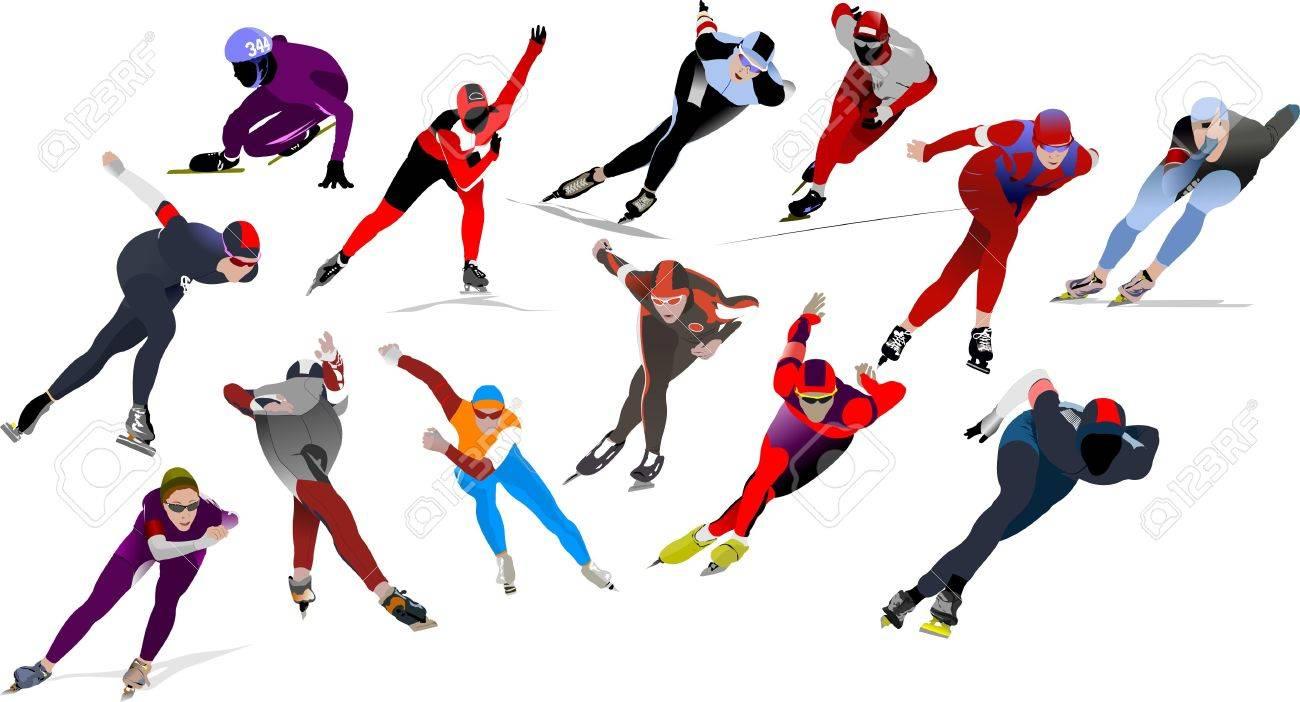 Speed skating Stock Vector - 8749577