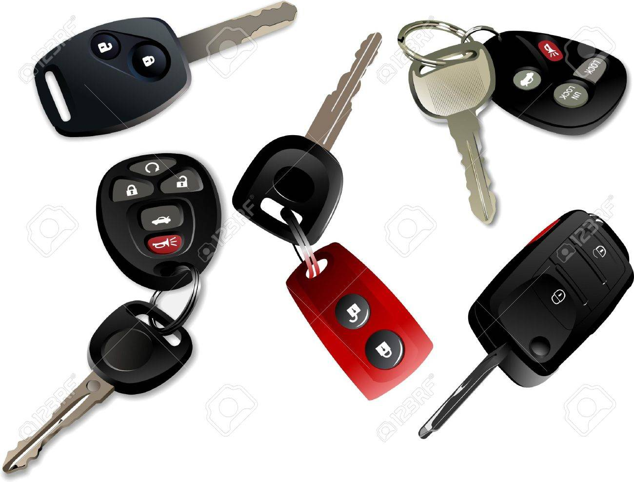 Five Car keys with remote control isolated over white background Stock Vector - 8749534