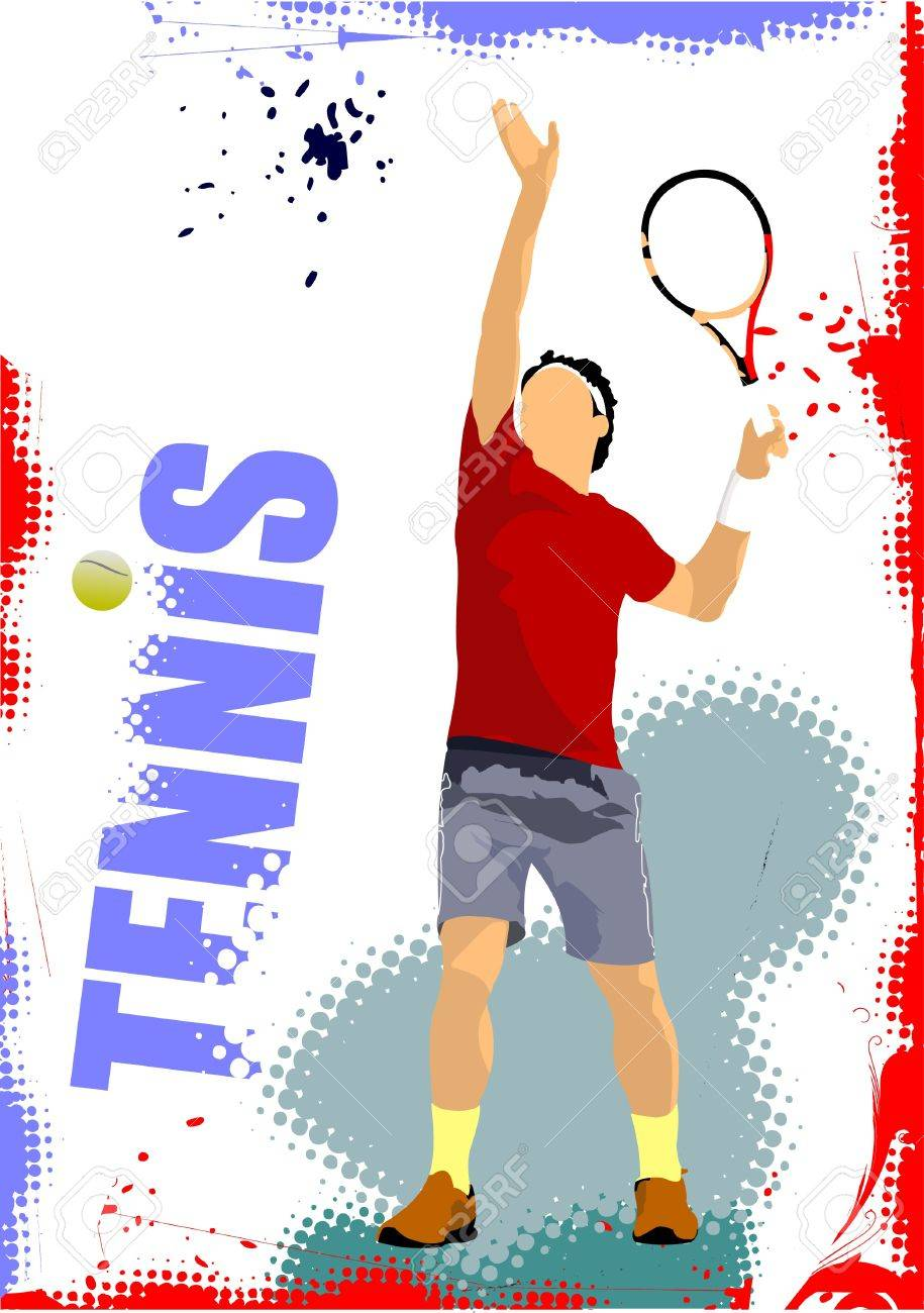 Tennis player poster. Colored Vector illustration for designers Stock Vector - 9551870