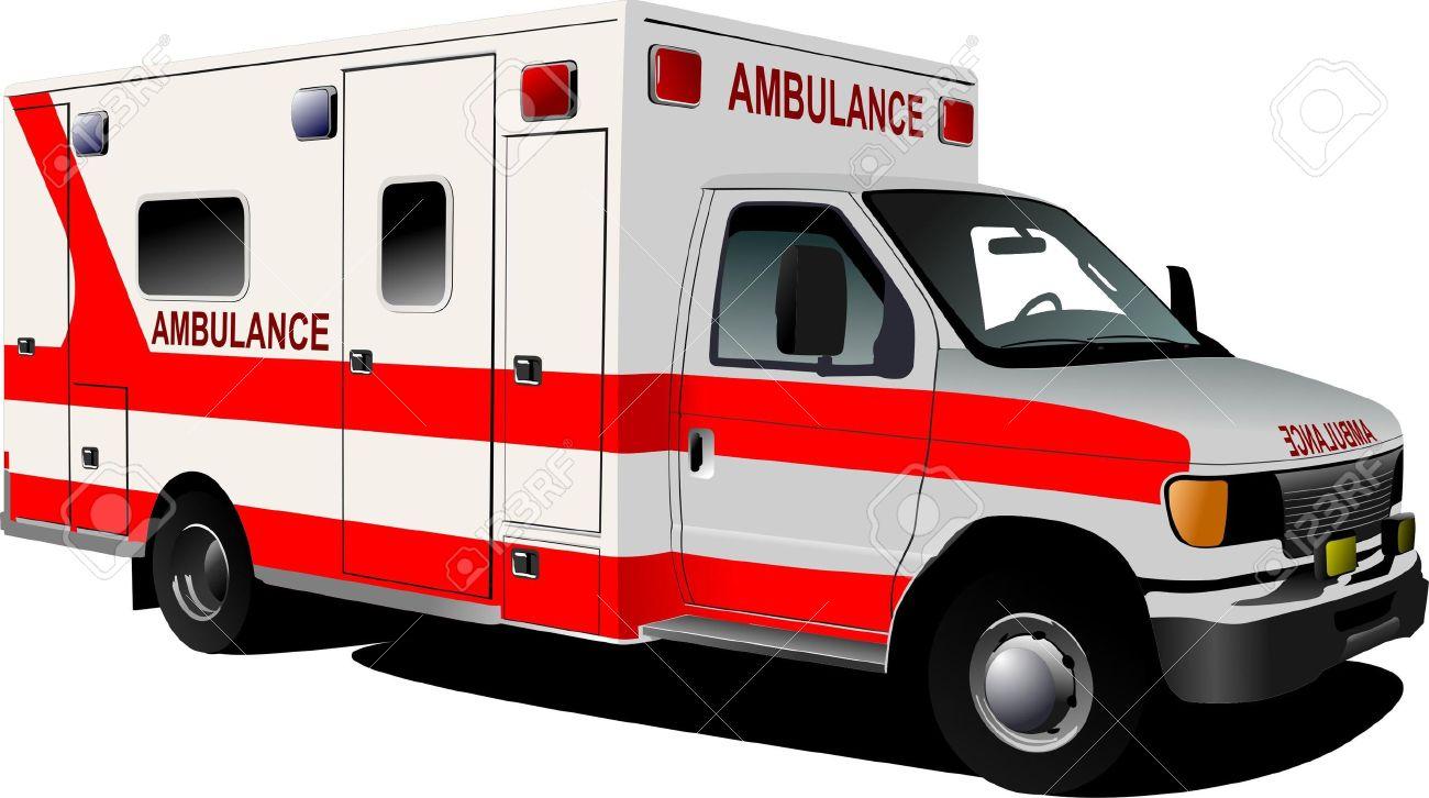 Modern ambulance van over white. Colored vector illustration Stock Vector - 9551726