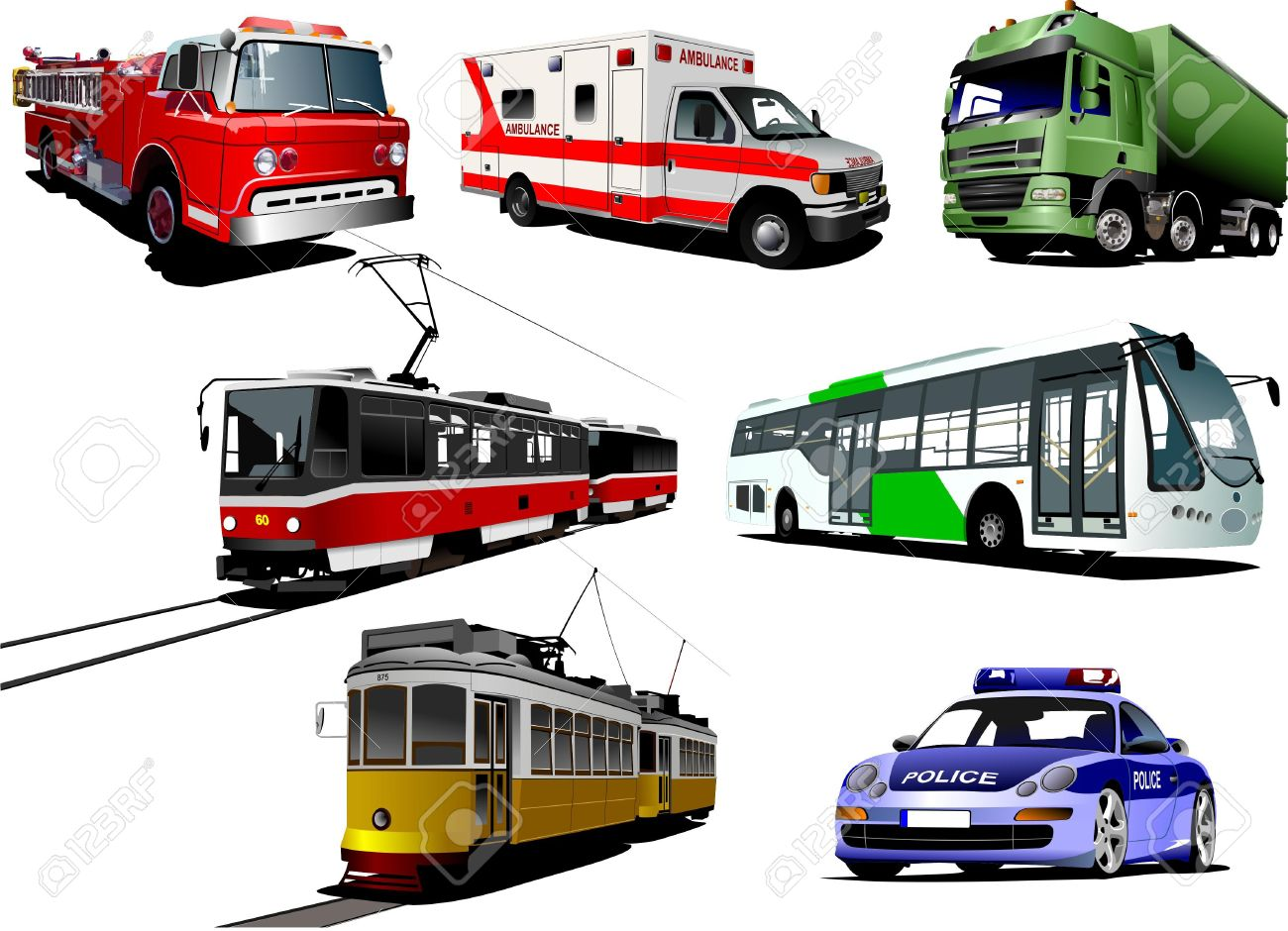 Set of municipal transport images. Vector illustration Stock Vector - 9552049