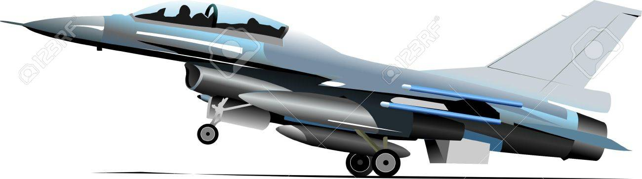 Combat aircraft. Colored vector illustration for designers Stock Vector - 9551672