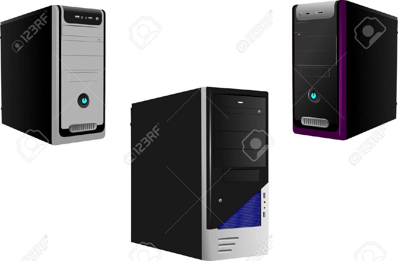 Three Realistic Case of Computer. Server. Workstation. Vector illustration Stock Vector - 9551801