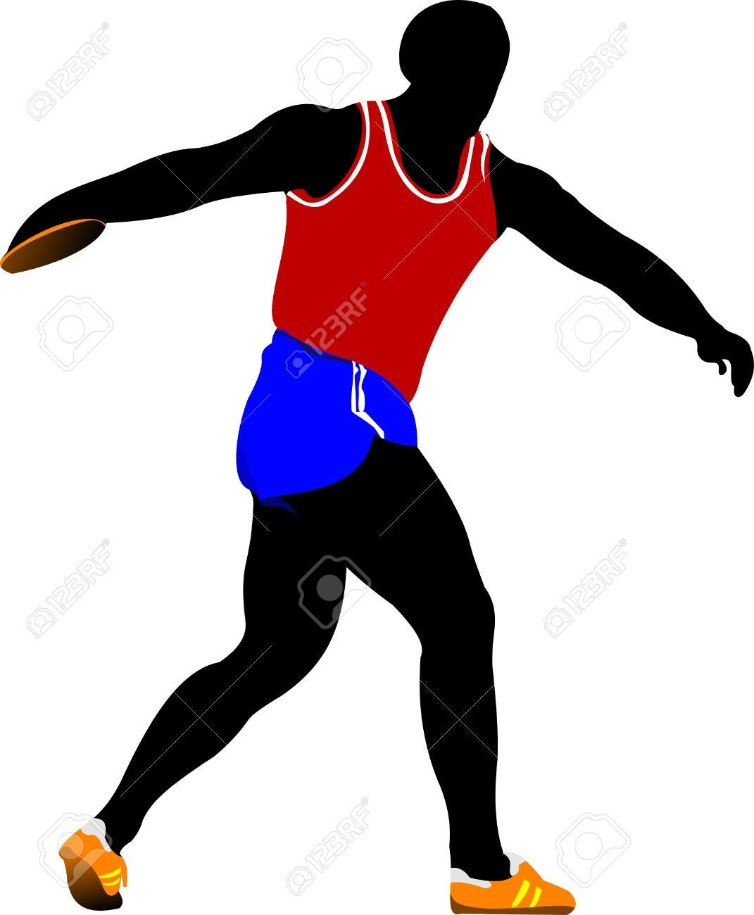 Athlete about to throw the discus Stock Vector - 9551538