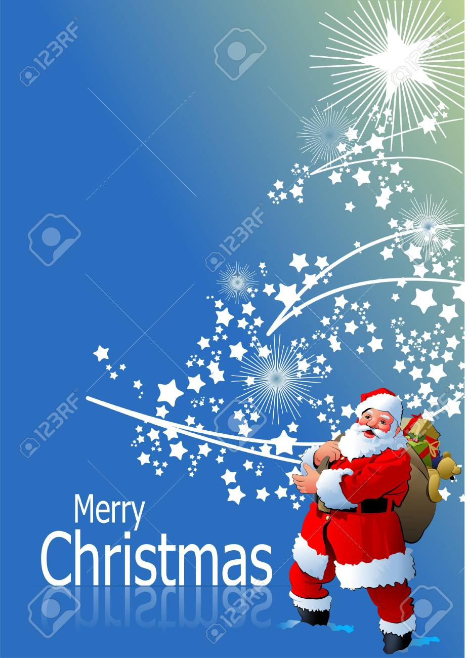 Blue abstract Christmas background with white snowflakes and Santa image. Vector illustration Stock Vector - 9551967