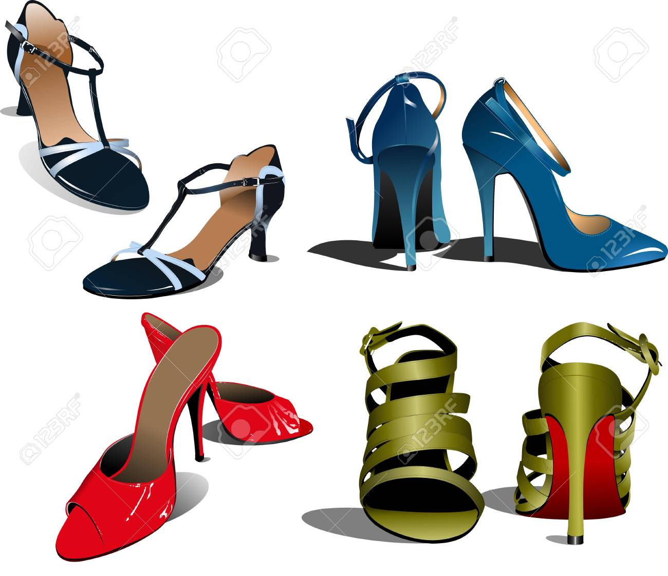 Fashion woman shoes. Vector illustration Stock Illustration - 9701138