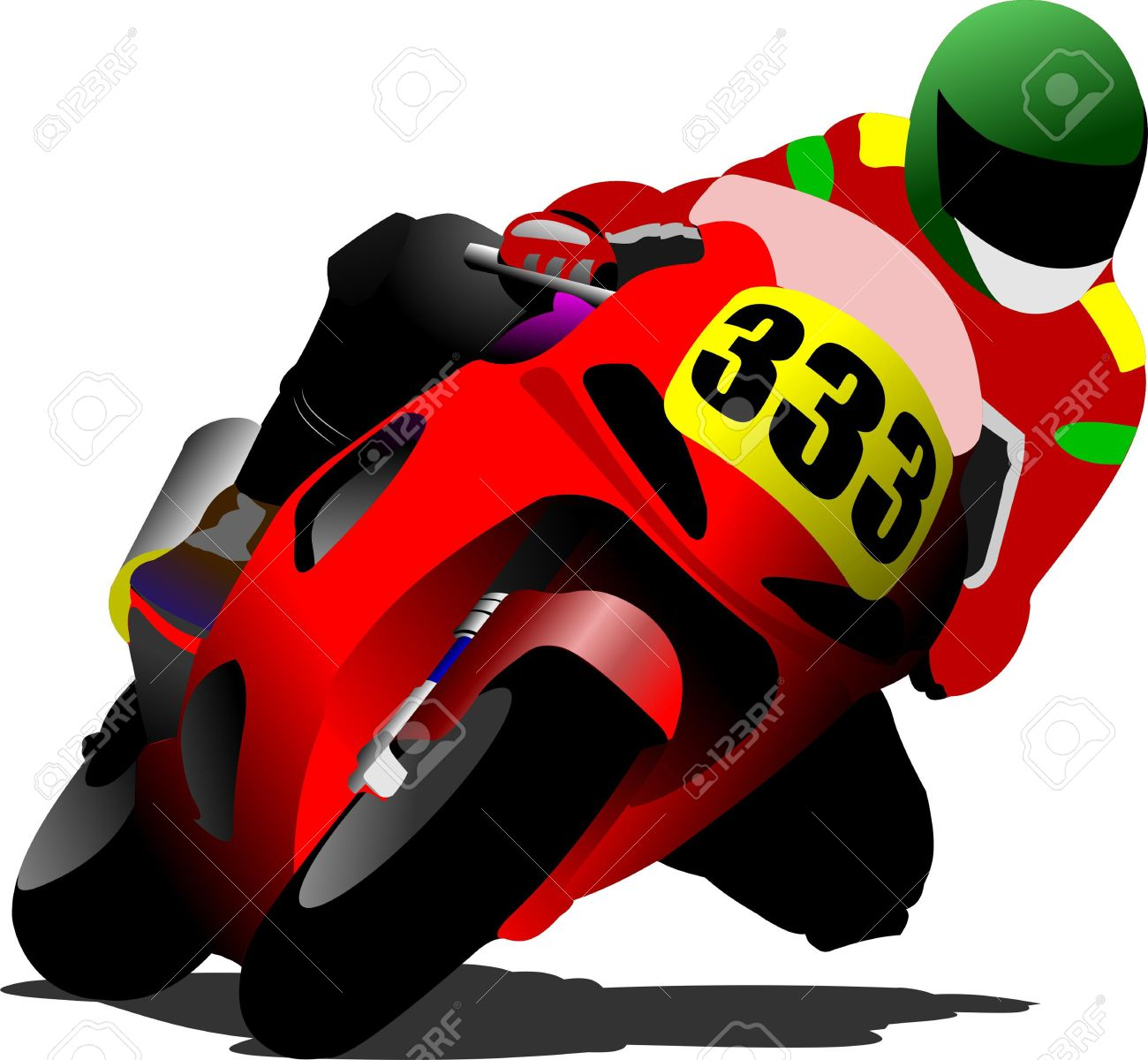 Biker on the road. Vector illustration Stock Vector - 9722006
