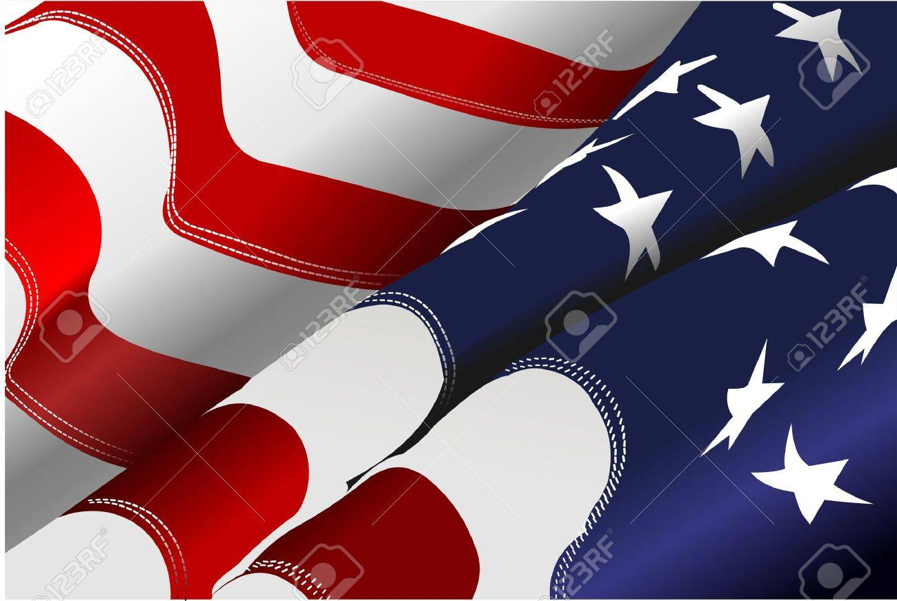 4th July – Independence day of United States of America. American flag. Vector - 9721269