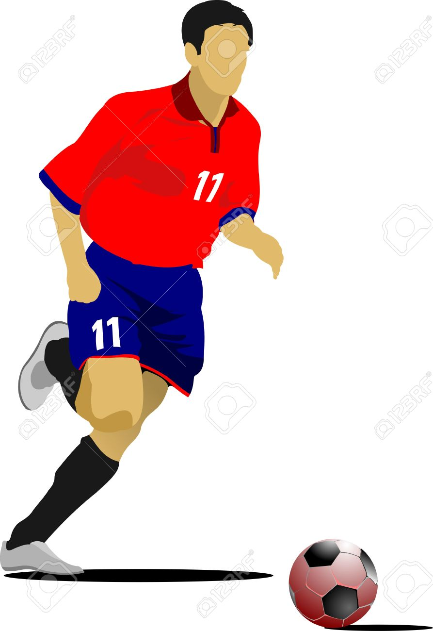 soccer players colored illustration for designers royalty free rh 123rf com soccer player clipart free soccer player clipart png