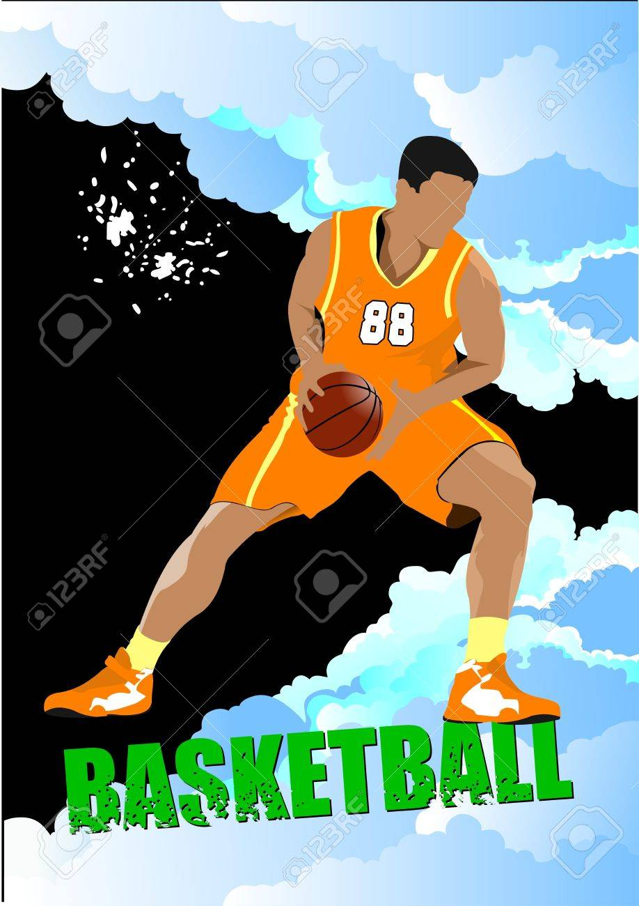 Basketball players poster. Colored Vector illustration for designers Stock Vector - 11093286